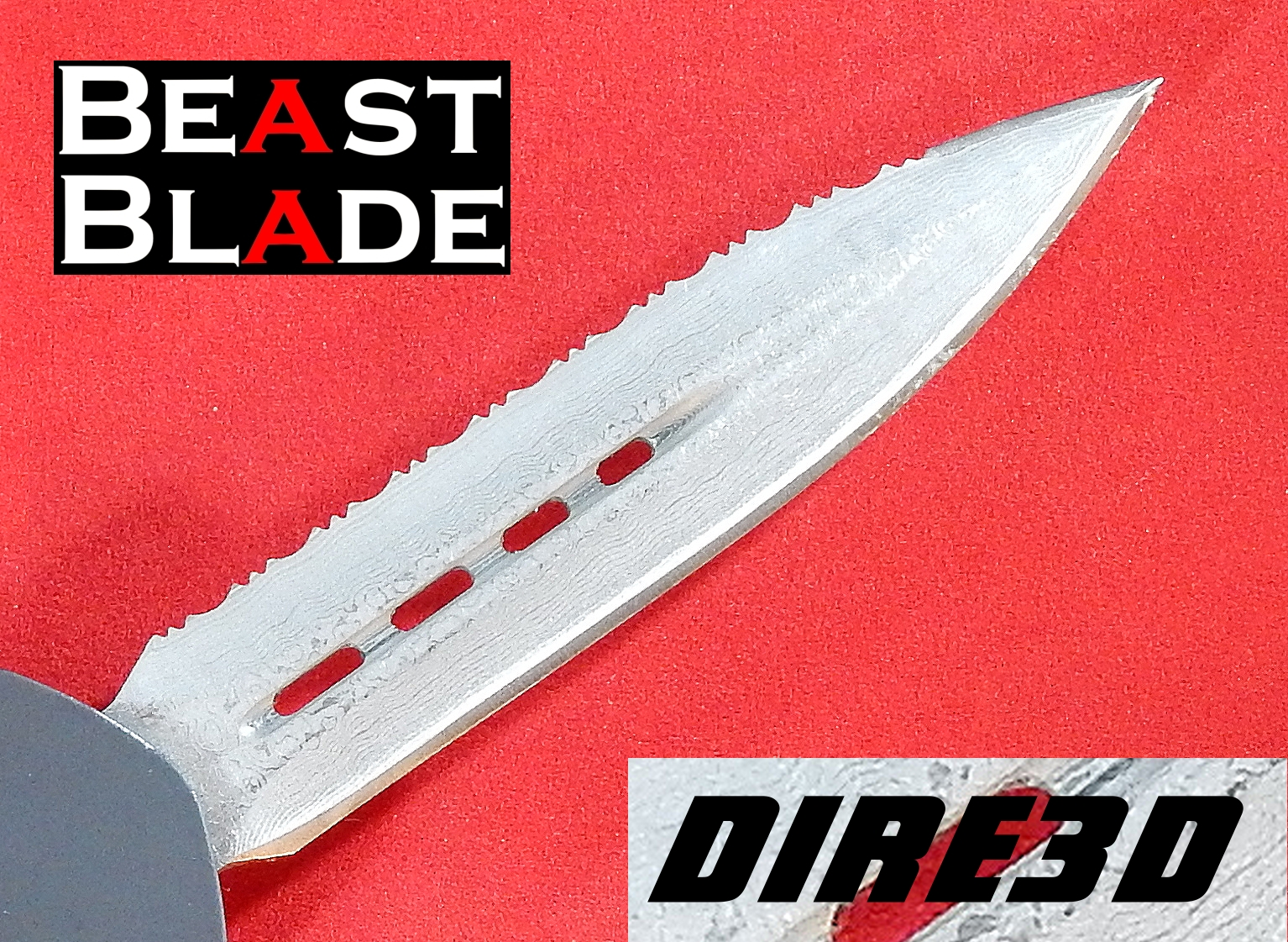 9 inch Damascus Dagger, Double Edge, Straight & Serrated Side