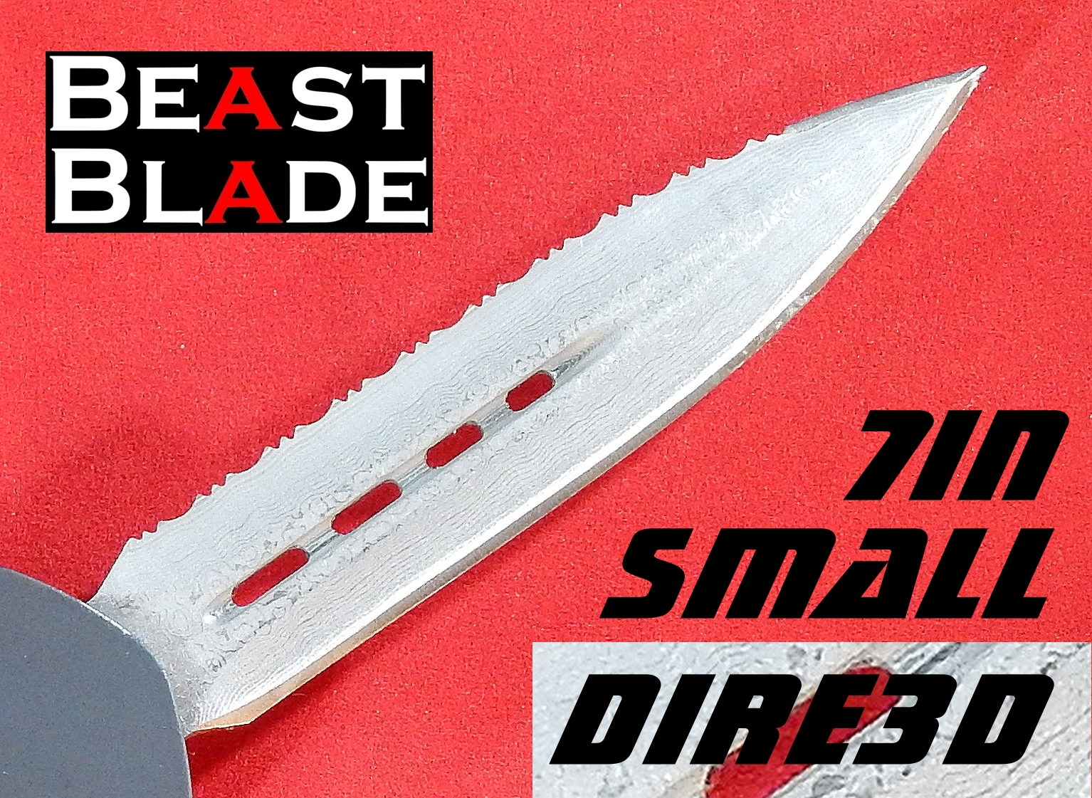 7 inch Damascus Dagger, Double Edge, Straight & Serrated Edges
