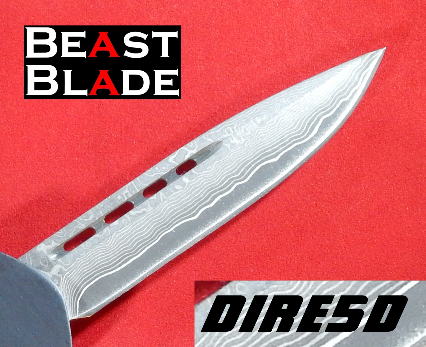 9 inch Damascus, Drop Point, Single Edge, Straight Blade